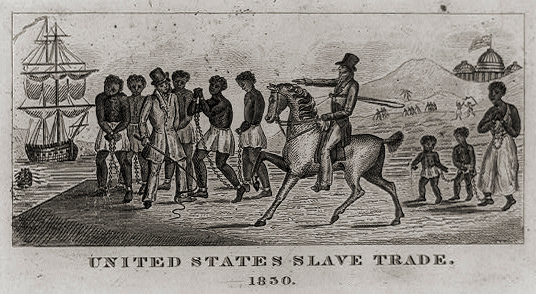 """. An abolitionist print possibly engraved in 1830, but undocumented aside from the letterpress text which appears on an accompanying sheet. The text reads: \""""United States\' slave trade, 1830. The Copper Plate from which the above picture has just been engraved, was found many years ago by workmen engaged in removing the ruins of Anti-Slavery Hall, in Philadelphia, which was burned by a mob in 1838. No previous impression of the Plate is known to its present owner. A scene in the inter-State Slave trade is represented.\"""" The writer goes on to describe the scene as a group of slaves in chains, with a mother \""""fastened to her children,\"""" being sold by a trader on horseback to another. \""""Both dealers have whips in their hands. A ship and a boat, each loaded with slaves, are seen on the left. In the background, slaves are working in gangs, and one man is being flogged. The United States Capitol, surmounted by its flag, overlooks the scene in the distance. The engraving....is an interesting contribution to American History. Price 20 cents.\""""  Library of Congress"""