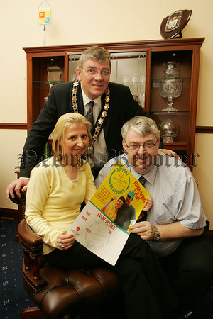 Mayor Michael Carr along with Paddy Duffy the Local Special Olympics Representative are pictured with Mary Prunty the Fundraising Co-ordinator for South Armagh launching Support an Athlete campaign for this years Special Olympics. 07W13N6