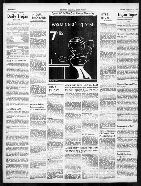 Daily Trojan, Vol. 31, No. 86, February 16, 1940