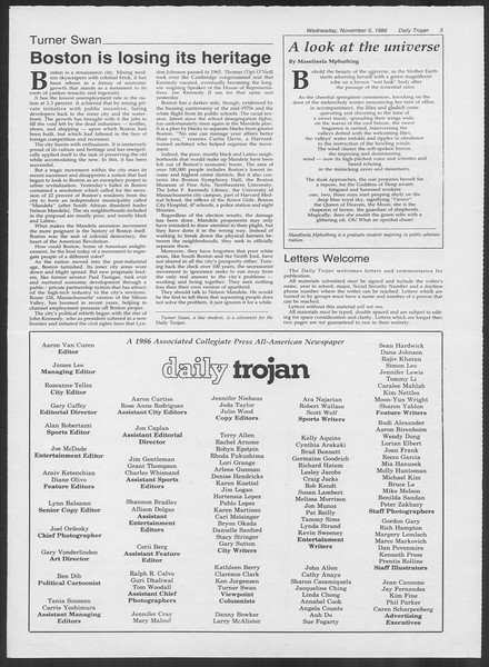 Daily Trojan, Vol. 102, No. 46, November 05, 1986