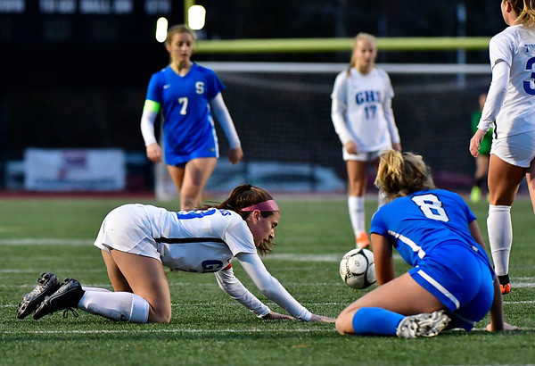 11/23/2019 Mike Orazzi | Staff Glastonbury High School's Alexandra Bedard (29) and Southington High School's Allison Carr (8) during the Class LL Girls State Soccer Tournament at Veterans Stadium in New Britain Saturday evening. Glastonbury defeated Southington 1-0.