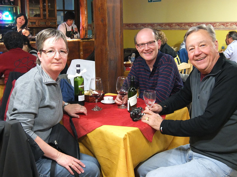 new friends from Graz, at dinner after an unexpected stop over by their cruse ship for a ill passenger, gave them a day in Ushuaia.