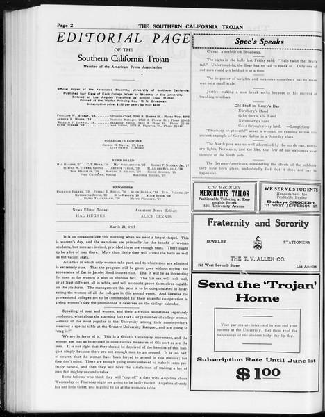 The Southern California Trojan, Vol. 8, No. 85, March 21, 1917