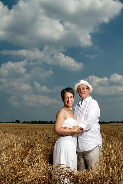 Lauren Fink & Justin Wolf Wedding Portrait Random Field - Beecher, Illinois