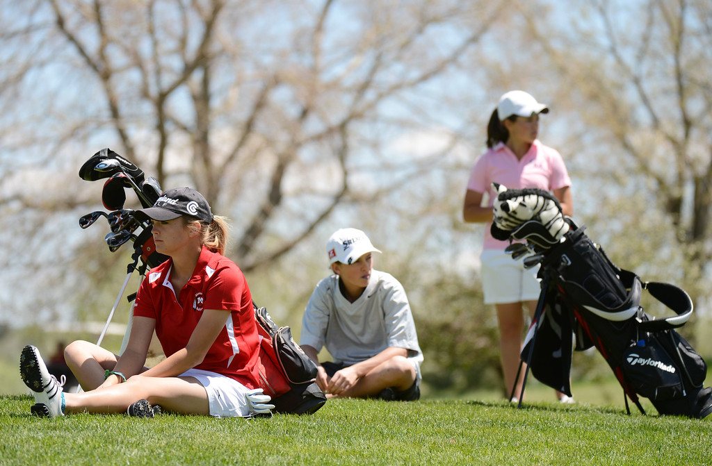 . ENGLEWOOD, CO. - MAY 21 : From left, Kala Keltz of Montrose High School, Kiselya Plewe of Dolores High School and Kylee Sullivan of Cheyenne Mountain High School are waiting their tee shot at 10th hole during State 4A Girl\'s Golf Championship at Broken Tree Golf Course. Englewood, Colorado. May 21, 2013. (Photo By Hyoung Chang/The Denver Post)