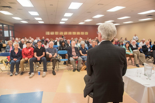 DAVID LIPNOWSKI / WINNIPEG FREE PRESS  Residents had the opportunity to voice concerns with The Hon. Jim Carr, MP for Winnipeg South Centre and Minister of Natural Resources during a quarterly town hall at the Asper Jewish Community Campus Wednesday May 25, 2016. One such issue discussed was the proposed cell tower at the corner of  Niagara St and Grosvenor Ave (there is currently an MTS switching station that looks like a residential property there).