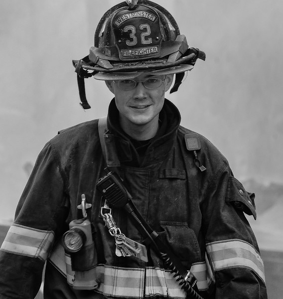 Westminster FF Dave Monty at the 6th Alm on Sherman St in Gardner.