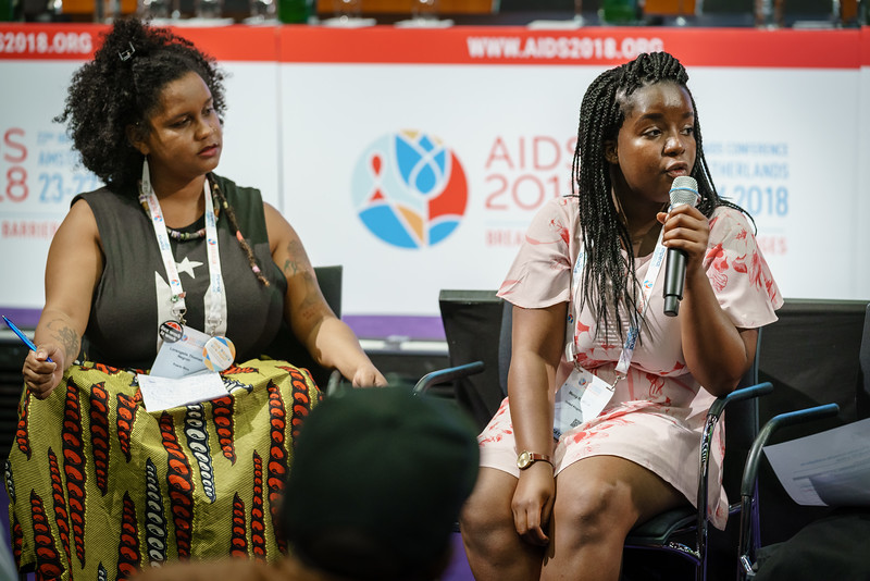 22nd International AIDS Conference (AIDS 2018) Amsterdam, Netherlands.   Copyright: Matthijs Immink/IAS  Young people at the centre: Community mobilization for youth-friendly HIV services  On the photo: L'Orangelis Thomas Negron Mercy Ngulube