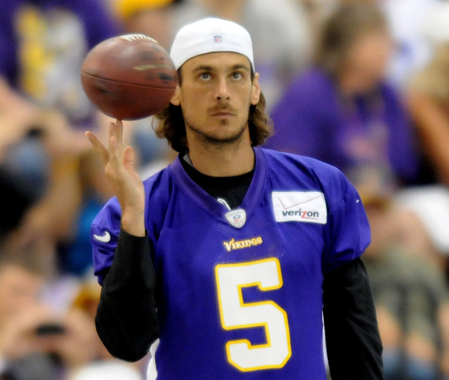 . Vikings punter Chris Kluwe spins a ball on his fingers during training camp was moved inside on Saturday July 28, 2012, during the walk thru on the MSU campus in Mankato.  (Pioneer Press: Sherri LaRose-Chiglo)