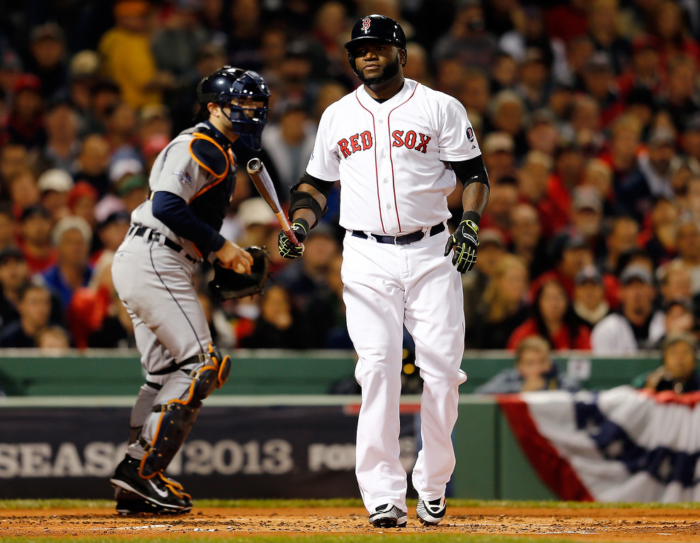 . David Ortiz #34 of the Boston Red Sox reacts after striking out in the first inning against the Detroit Tigers during Game Two of the American League Championship Series at Fenway Park on October 13, 2013 in Boston, Massachusetts.  (Photo by Jim Rogash/Getty Images)