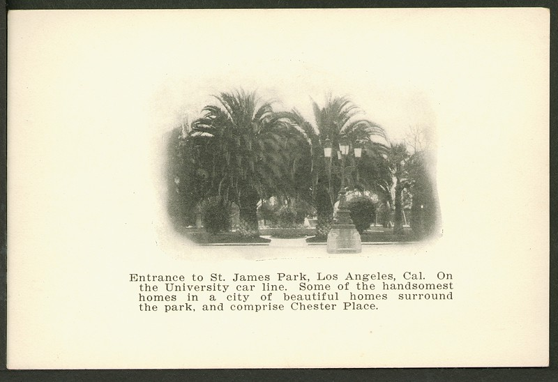 Entrance to St. James Park, Los Angeles, California