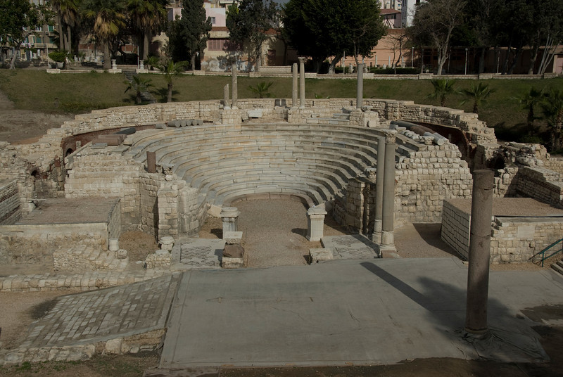Ruins of the balcony stairs at the Roman Theater - Alexandria, Egypt