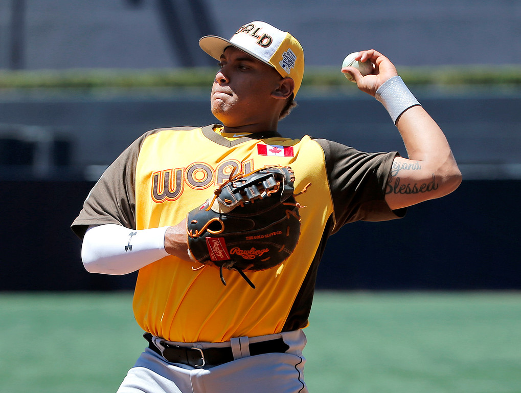 . World Team\'s Jharel Cotton, of the Los Angeles Dodgers, fields prior to the All-Star Futures baseball game against the U.S. Team, Sunday, July 10, 2016, in San Diego. (AP Photo/Lenny Ignelzi)