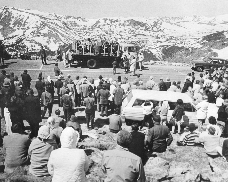 . A crowd of 350 persons gathered at the 12,183-foot summit of Trail Ridge Road on Memorial Day in 1966  for the formal opening of the road between Estes Park and Grand Lake, Colorado. (Denver Post Library photo archive)