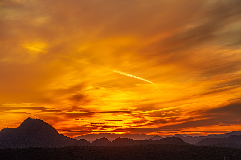 Vivid sunset over the mountains and desert of the Sonoran Desert