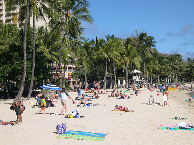 Waikiki Beach along Oahu's southern shore
