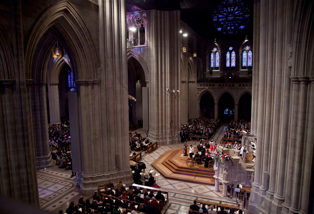 Description of . President Barack Obama, first lady Michelle Obama, Vice President Joe Biden and his wife Jill Biden, attend the Presidential Inaugural Prayer Service at the Washington National Cathedral in Washington, Tuesday, Jan. 22, 2013. The 106-year-old Episcopal church has long hosted presidential inaugural services., this one following Monday's 57th Presidential Inauguration.  (AP Photo/Carolyn Kaster)