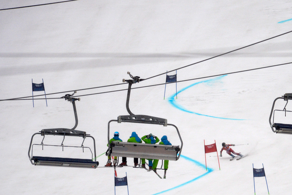 Description of . Switzerland's Lara Gut races during the first round of the ladies' giant slalom. Sochi 2014 Winter Olympics on Tuesday, February 18, 2014. (Photo by AAron Ontiveroz/The Denver Post)
