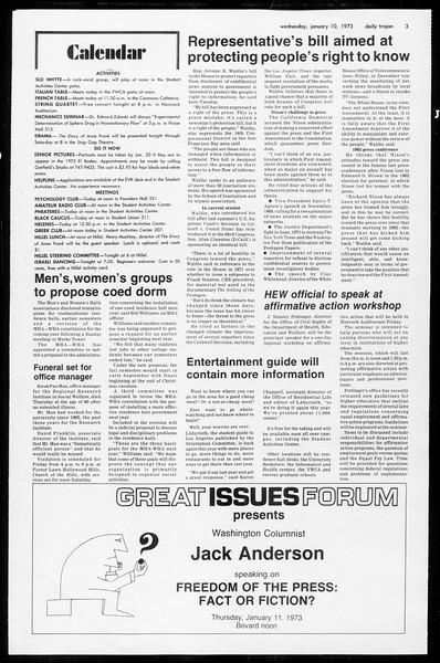 Daily Trojan, Vol. 65, No. 63, January 10, 1973