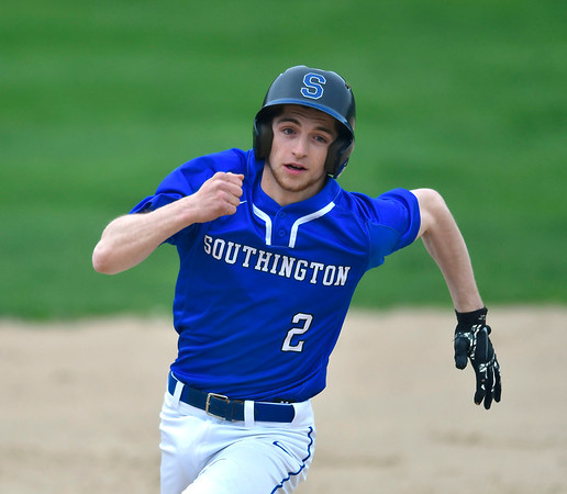 4/25/2019 Mike Orazzi | Staff Southington's Jake DelMonte (2) during Thursday's baseball game with New Britain at Bee Hive Stadium in New Britain.