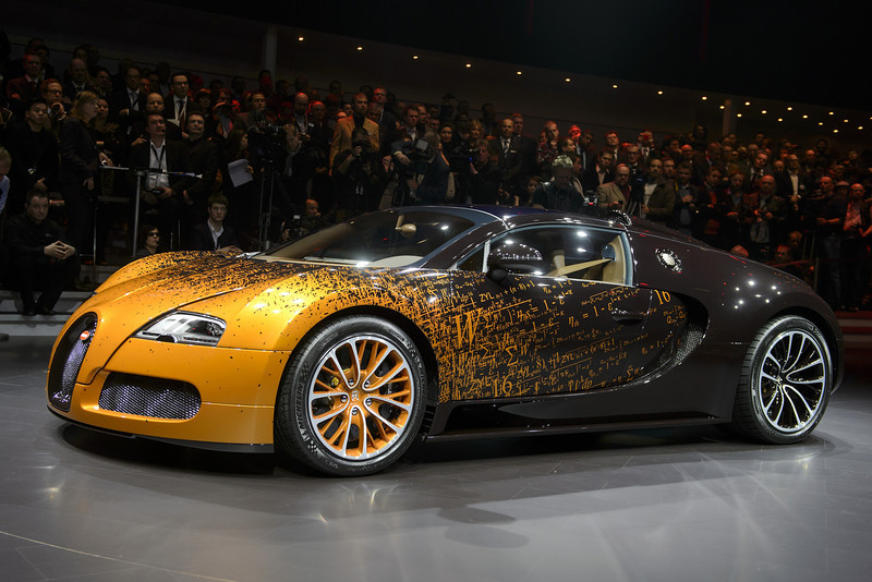. The new Bugatti Grand Sport Venet model car is displayed during a preview of Volkswagen Group on March 4, 2013 ahead of the Geneva Car Show in Geneva.  FABRICE COFFRINI/AFP/Getty Images