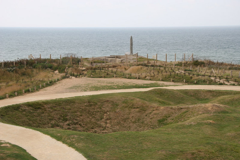 Ranger Memorial at Pointe du Hoc.  225 US Army Rangers scaled 30m cliffs at this point during the early hours of D-Day to attack the German gun batteries.