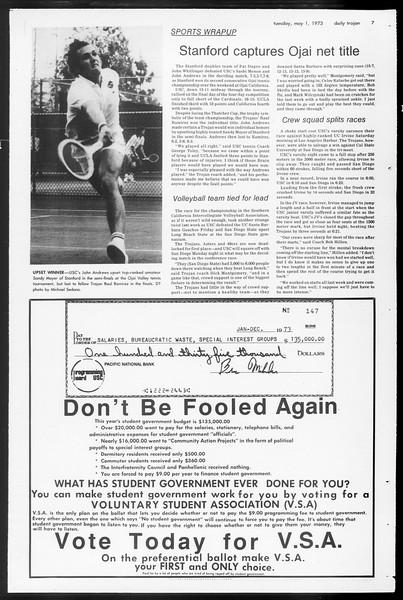 Daily Trojan, Vol. 65, No. 117, May 01, 1973