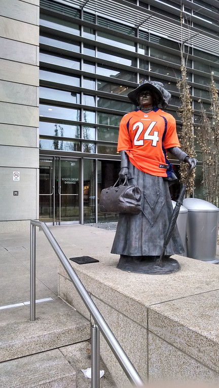 . History Colorado dressed one of its statues in a Champ Bailey jersey.   (Submitted by Eric Lubbers)