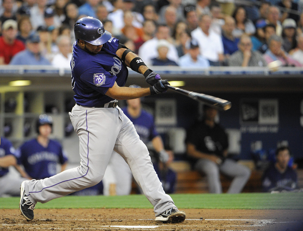 . Wilin Rosario #20 of the Colorado Rockies hits a single during the third inning of a baseball game against the San Diego Padres at Petco Park on July 8, 2013 in San Diego, California.  (Photo by Denis Poroy/Getty Images)