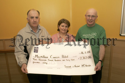 Susan and Kevin Mc Ardle present Aiden Carroll. (Macmillan Cancer Relief), with a cheque for £2763, proceeds raised from coffee morning. Susan and Kevin have raised over £12,000 since 2001. 06W8N1
