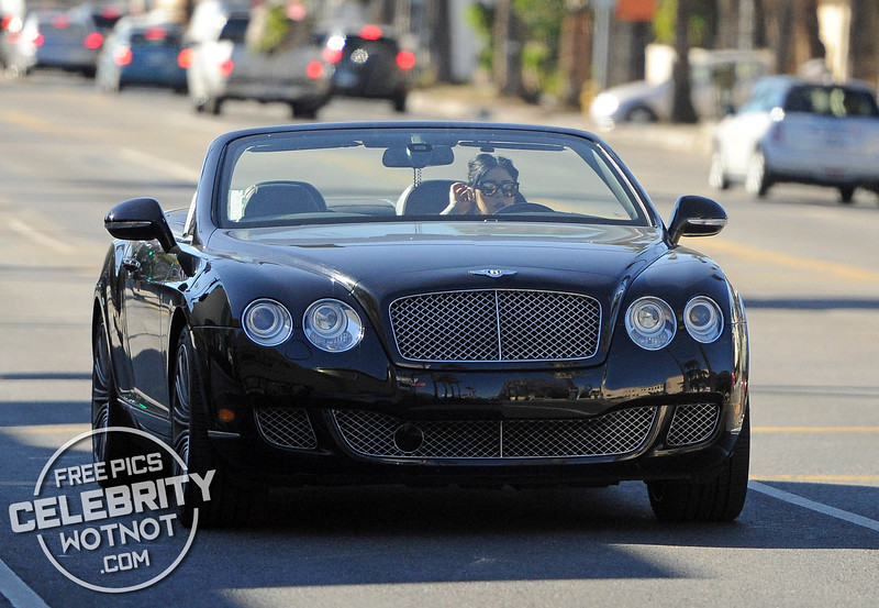 EXC: Kat Von D Has Hanging Crucifix In Convertible GT Bentley