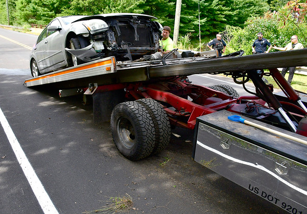 9/5/2019 Mike Orazzi   StaffrThe scene of a single vehicle crash on Greystone Road in Plymouth sending the sole occupant to area hospital with non-life threatening injuries on Thursday afternoon.