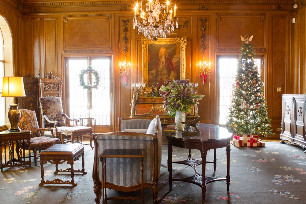 . A sitting room at the Governor\'s Residence at Boettcher Mansion is decked out for the holidays with wreaths, a tree, and other decorative items. Photo by Mark Broste