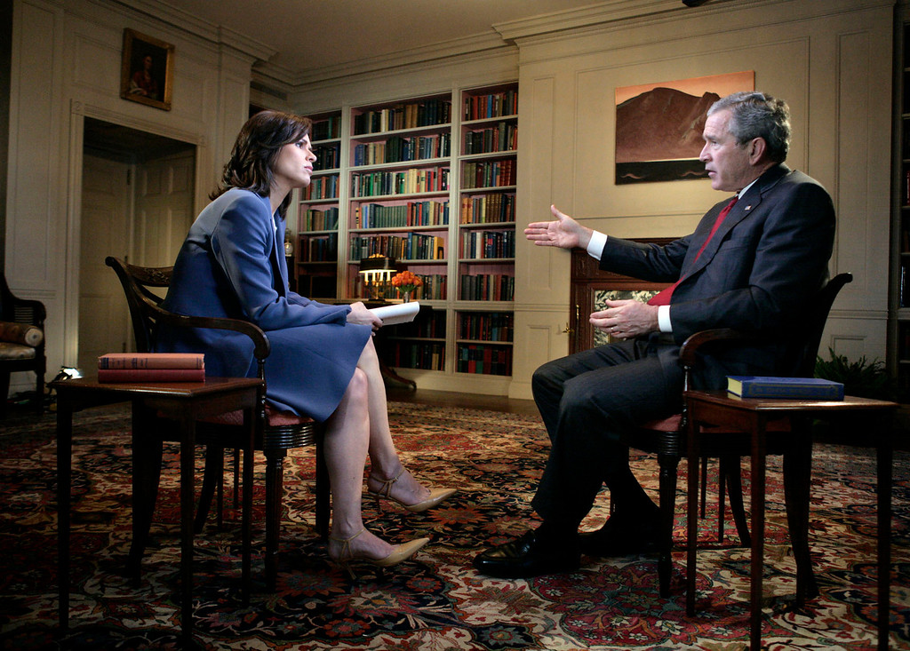 . This photo provided by the White House shows President  Bush during his interview with ABC News\' Elizabeth Vargas at the White House, Tuesday, Feb. 28, 2006.  (AP Photo/Eric Draper, White House)