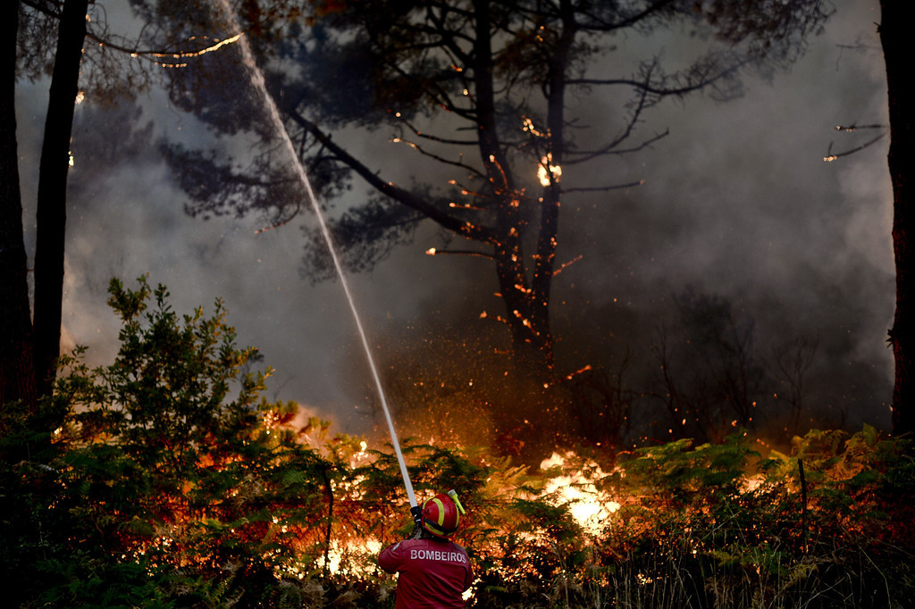. A firefighter tries to putout a wildfire in Caramulo, central Portugal on August 29, 2013.   AFP PHOTO / PATRICIA DE MELO MOREIRA/AFP/Getty Images