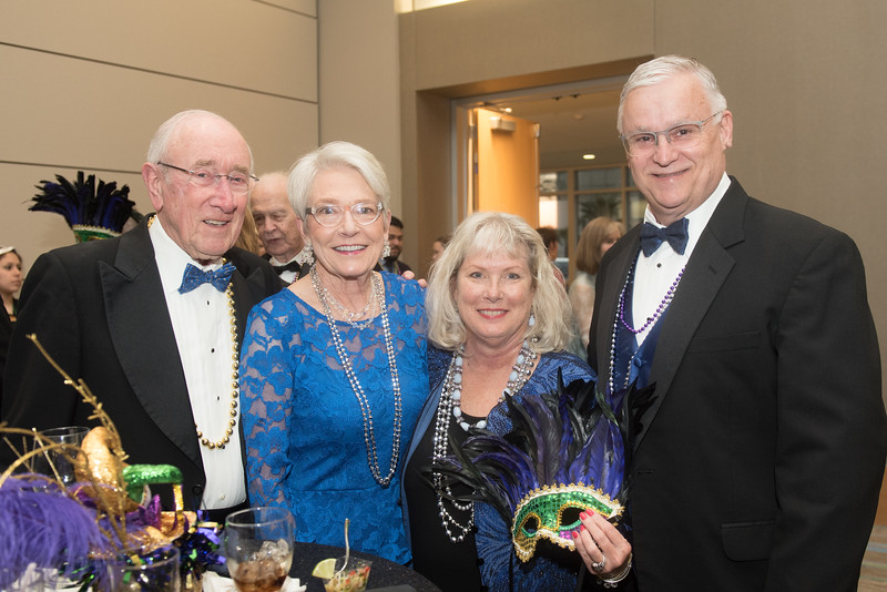 John and Charlene Chesshir, Roxie Pranglin and Don Albrecht. Saturday February 25, 2017 at TAMU-CC during the annual President's Mardi Gras Ball.
