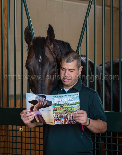 © WinStar Farm, Pioneerof the Nile and Israel Romo reading about American Pharoah's Triple Crown in Sports Illustrated