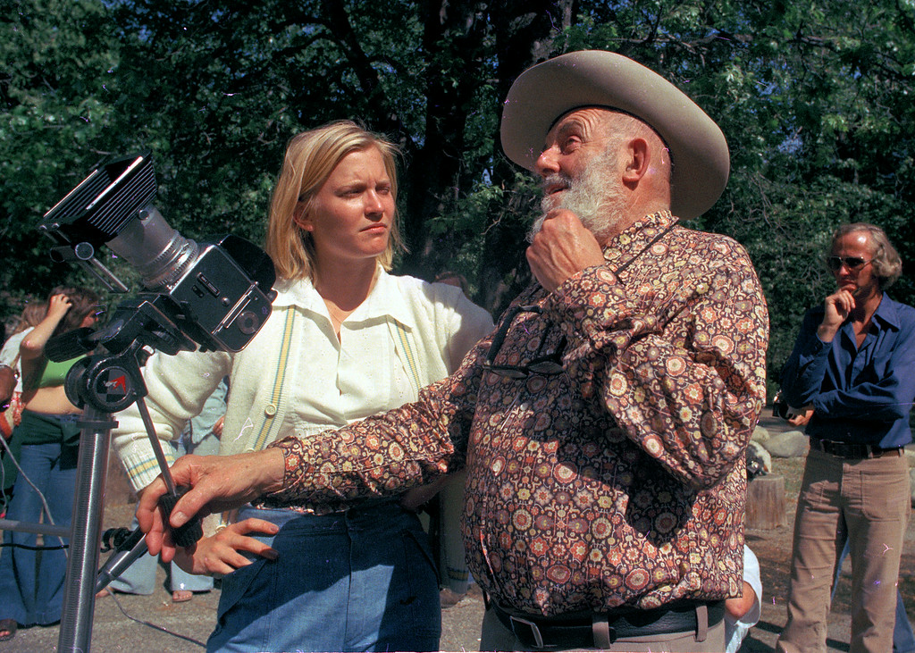 . Susan Ford, daughter of President Gerald Ford, learns photography from Ansel Adams at his gallery near Yosemite National Park, June 1975.  (AP Photo)