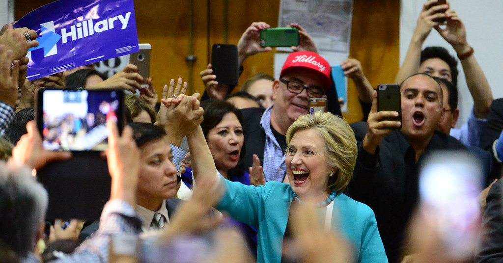 . Democratic presidential candidate Hillary Clinton greets supporters during a campaign rally at East Los Angeles College on Thursday, May 5, 2016 in East Los Angeles. (Photo by Keith Birmingham/ Pasadena Star-News)