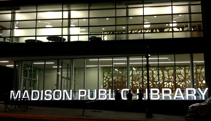 madison public library at night