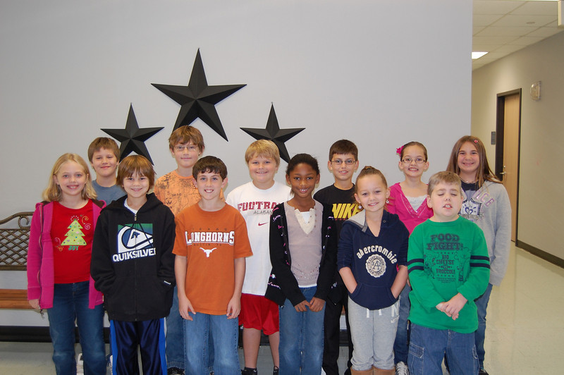 4th Grade students chosen by their teachers and peers for showing the character traits of Citizenship and Caring for the months of November and December are: Alice Faught, Emily Henderson, Carson Davis, Jordan Canales, Sara Martin, Lance Wingate, Jonathan May, Ross Lincecum, Shelby Abel, Davis Tinger, Elizabeth Farrell and Sterling Dean