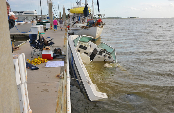 Salvage Small Boat at Jekyll Harbor 04-14-12