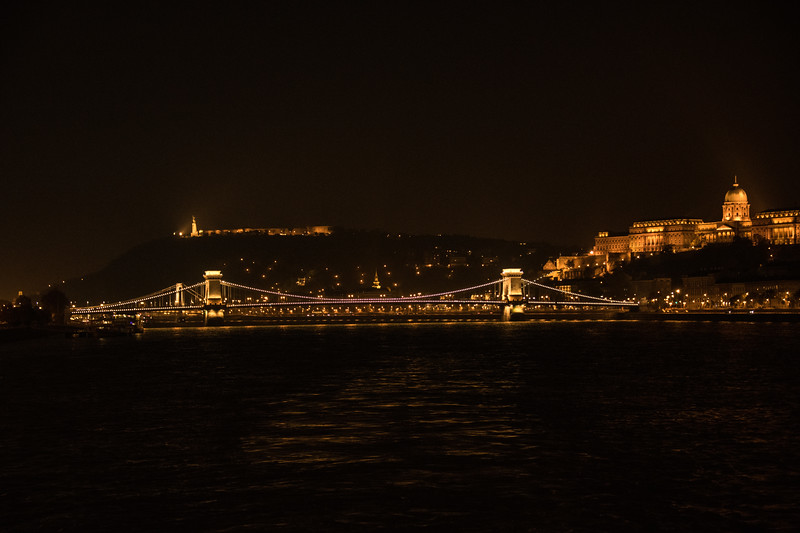 Budapest Chain Bridge & Parliament Building at Night
