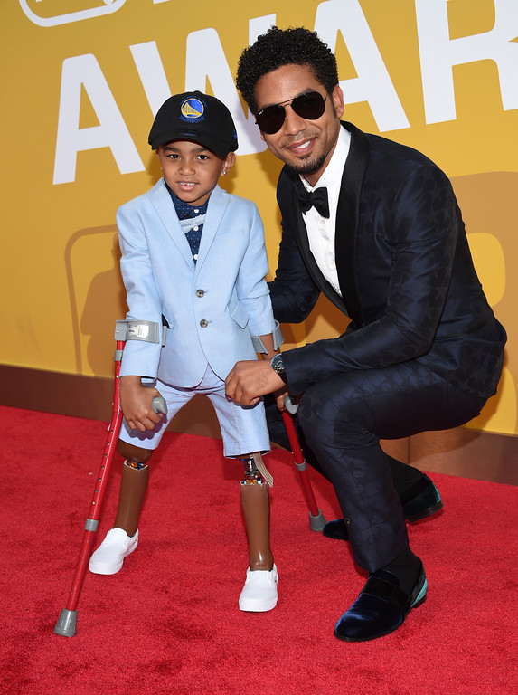 . Kayden Kinckle, left, and Jussie Smollett arrive at the NBA Awards at Basketball City at Pier 36 on Monday, June 26, 2017, in New York. (Photo by Evan Agostini/Invision/AP)