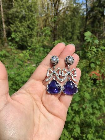 Tanzanite, Sapphire, Pearl and Diamond Earrings