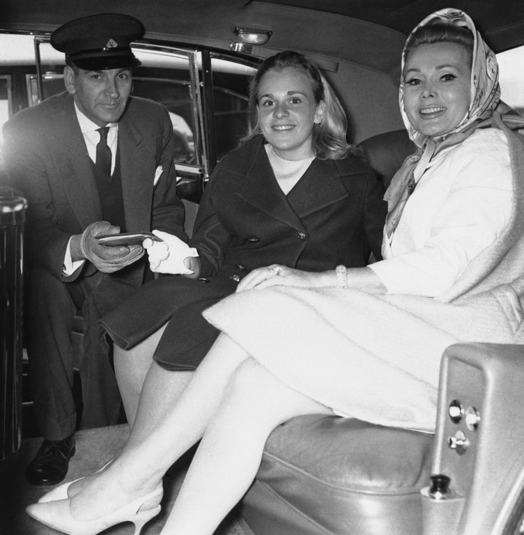 . Film actress Zsa Zsa Gabor seen at London Airport on June 6, 1964 when she met her 16 year old daughter Francesca Hilton.    (AP Photo)