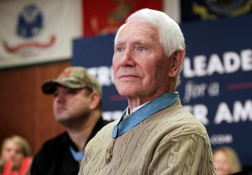 """. FILE - In this Jan. 30, 2016, file photo, retired U.S. Air Force Col. Leo K. Thorsness, who was awarded the Medal of Honor for heroism as an Air Force pilot during the Vietnam War, is seen at a presidential campaign event in Clear Lake, Iowa. Thorsness died of leukemia in Florida on Tuesday, May 2, 2017, according to his wife. He was 85. Thorsness was once cellmates in a Vietnamese prison camp dubbed the \""""Hanoi Hilton\"""" with U.S. Sen John McCain. (AP Photo/Kiichiro Sato, File)"""