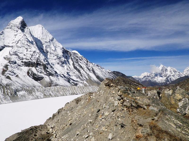Pareshaya Gyab (16,305ft = 4.970m) - Island Peak (20,305ft = 6.189m) Base Camp to the right where we spent 3 nights; Imja Tsho (16,437ft = 5.010m) frozen lake to the left.