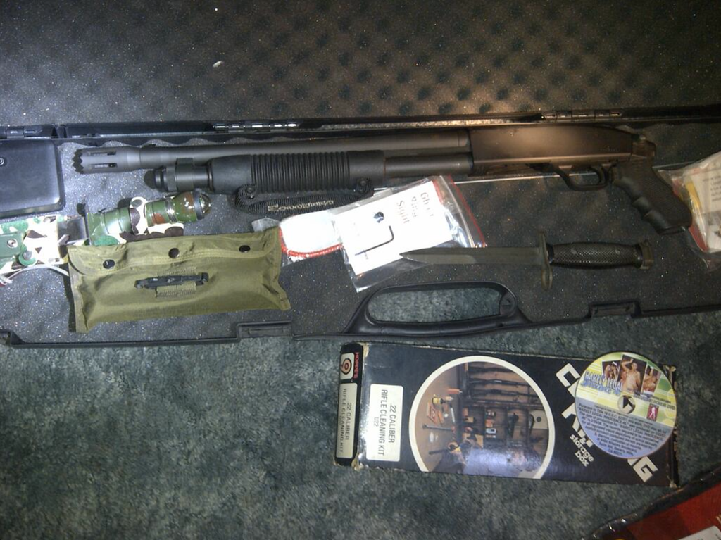 . Probation officers found a shotgun, knives and a porn DVD in the Whittier home of a convicted sex offender. Photo courtesy: Los Angeles County Probation Dept.