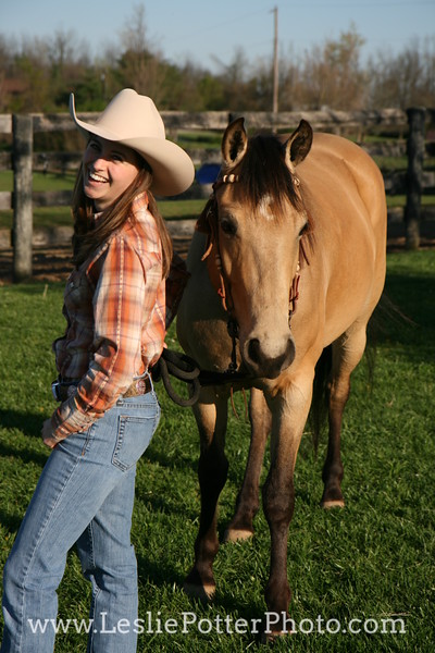 Buckskin American Quarter Horse with Cowgirl